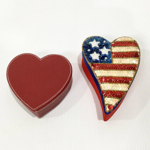 Two Heart Shaped Trinket Jewel Boxes Patriotic